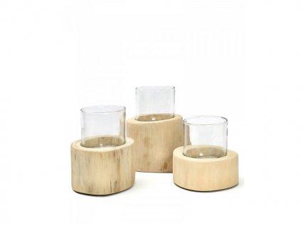 Set dřevěných svícnů Trio