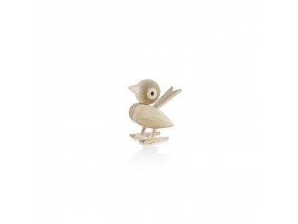 Dřevěný ptáček Sparrow Oak - 8 cm