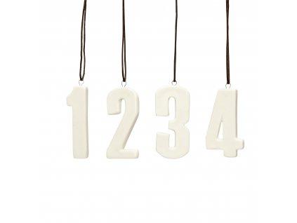 Porcelánová adventní čísla - White