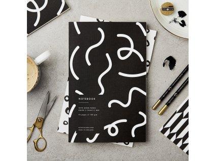 Zápisník Black & White - Squiggle