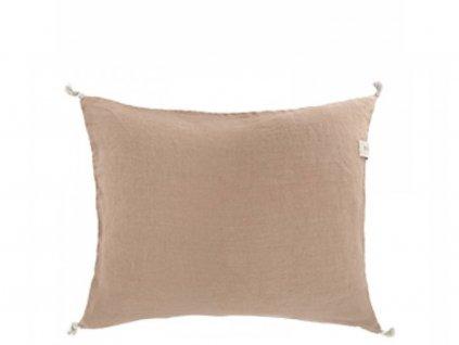 Lněný povlak na polštář se střapci - Nutmeg