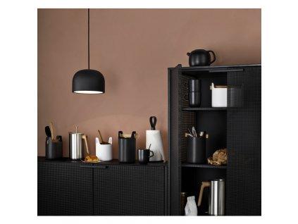 Úložná dóza s dřevěnou lžičkou Toolbox Black - 15 cm