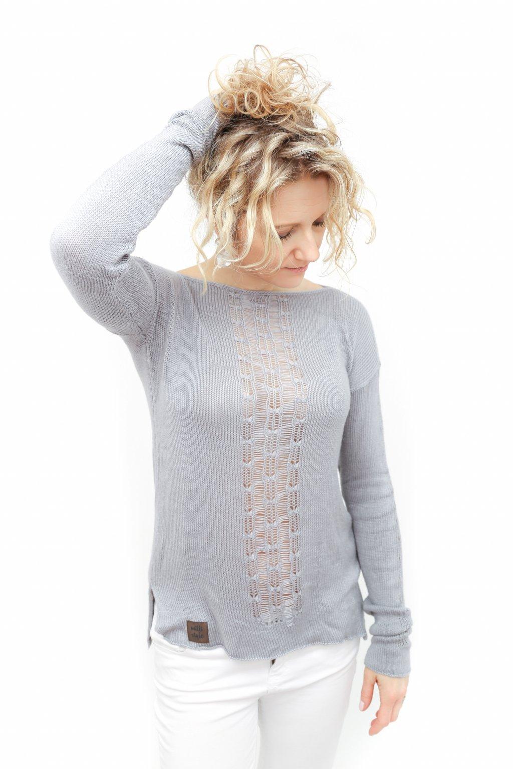šedý pletený svetr bambusový