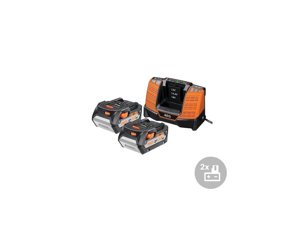 AEG Set akumulátor + nabíječka SET LL1850BL, 2x 5,0Ah