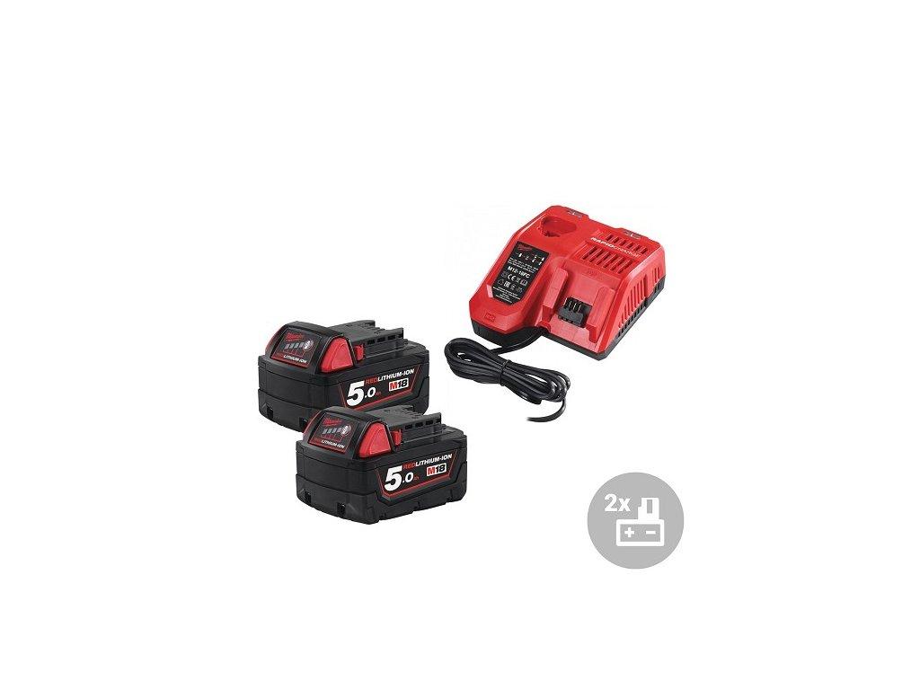 Milwaukee Set akumulátor + nabíječka M18 NRG-502, 18V, 2x 5,0Ah