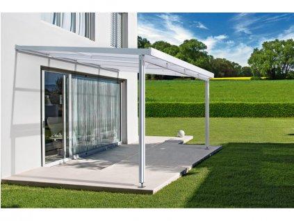 Hliníková pergola Terrassendach Premium - čirý akryl / bílá konstrukce