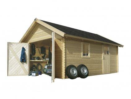 Dřevěná garáž KARIBU 43545 40 mm natur