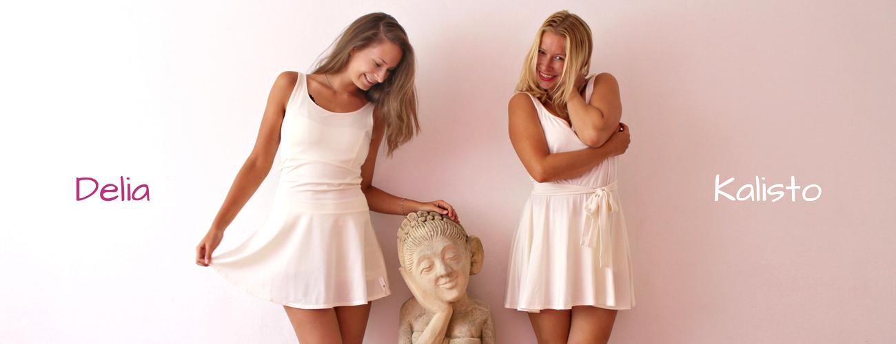 Jógově šaty ve dvou vatiantách: sportovní a romantická