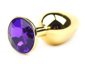 Analni sperk zlaty velikost S s fialovym diamantem ve tvaru srdce milujmese.cz sexshop eroticke pomucky