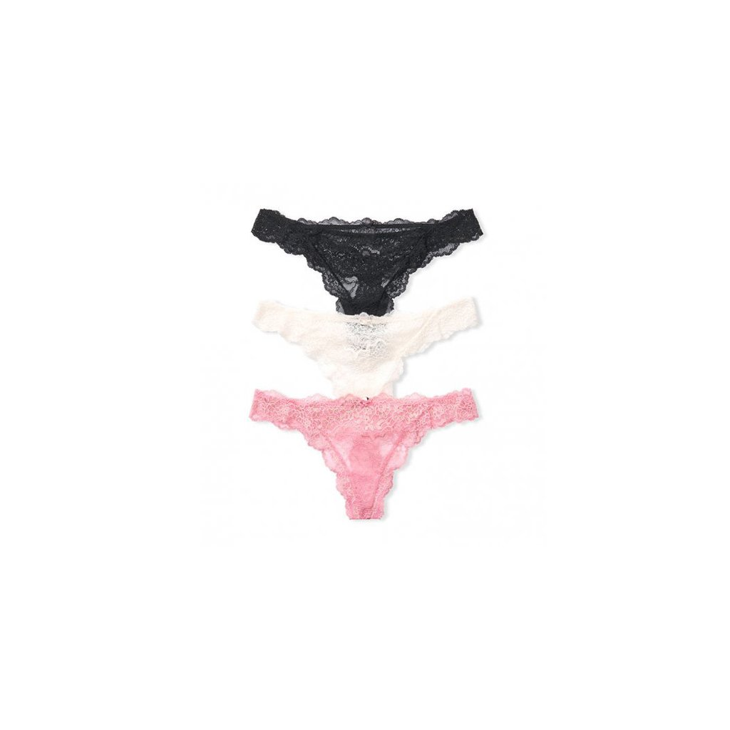 Victoria's Secret 3-pack Lace Shimmer Thong Panties I