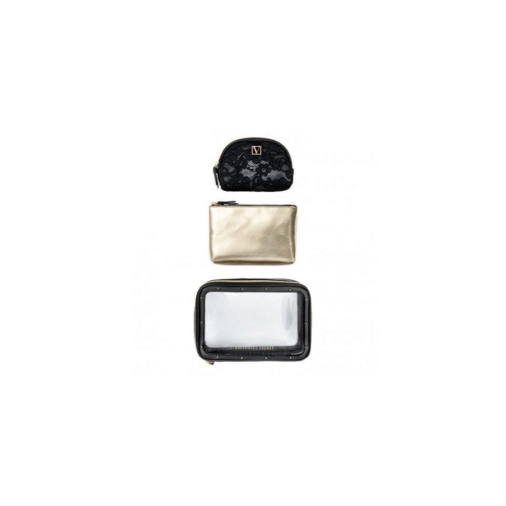 Victoria's Secret trio kosmetických taštiček Black Lily Lace Beauty Bag Trio