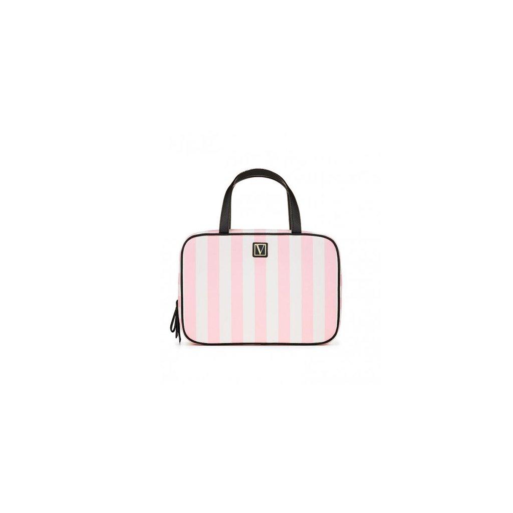 Victoria's Secret růžový kosmetický kufřík Signature Stripe Everything Travel Case