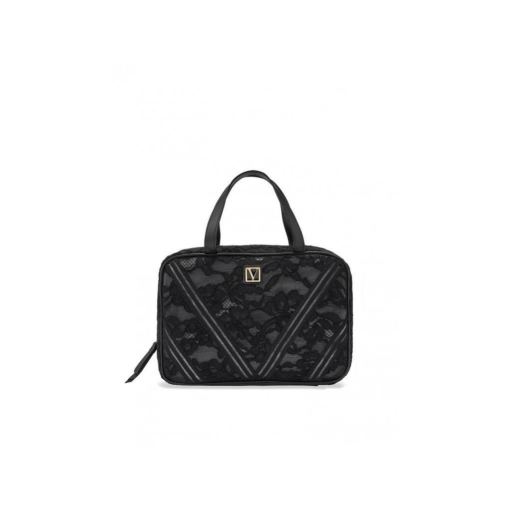 Victoria's Secret krajkový kosmetický kufřík Black Lily Lace Everything Travel Case