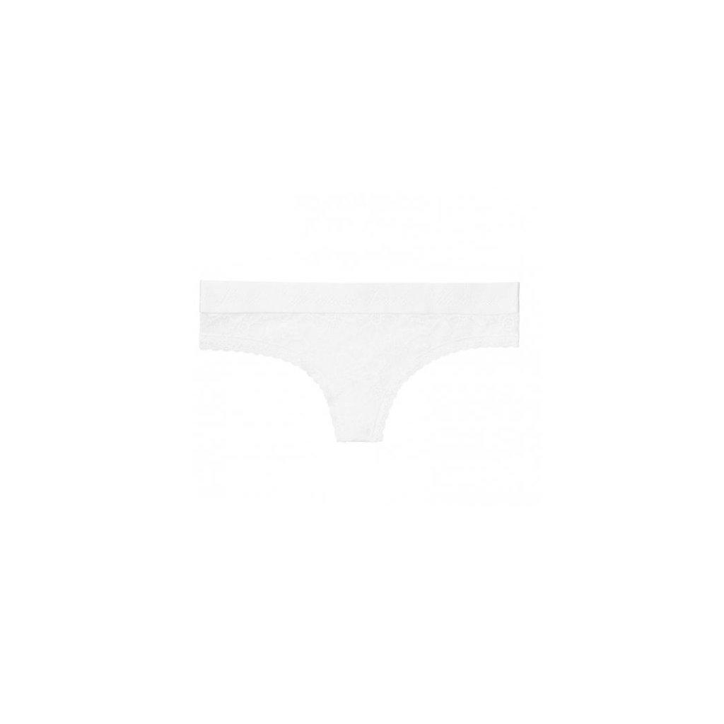 Victoria's Secret bílá krajková tanga Logo Waist Thong Panty
