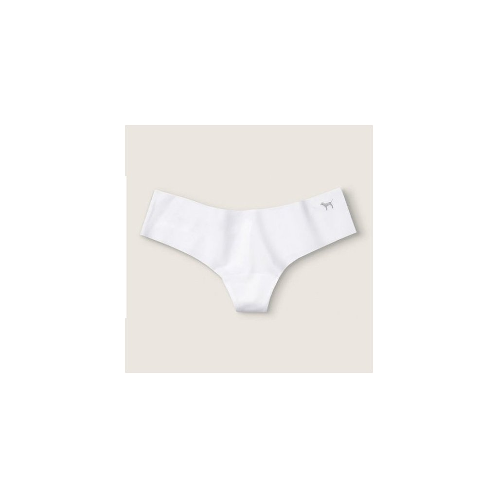 Victoria's Secret PINK bílá bezešvá tanga No Show Thong