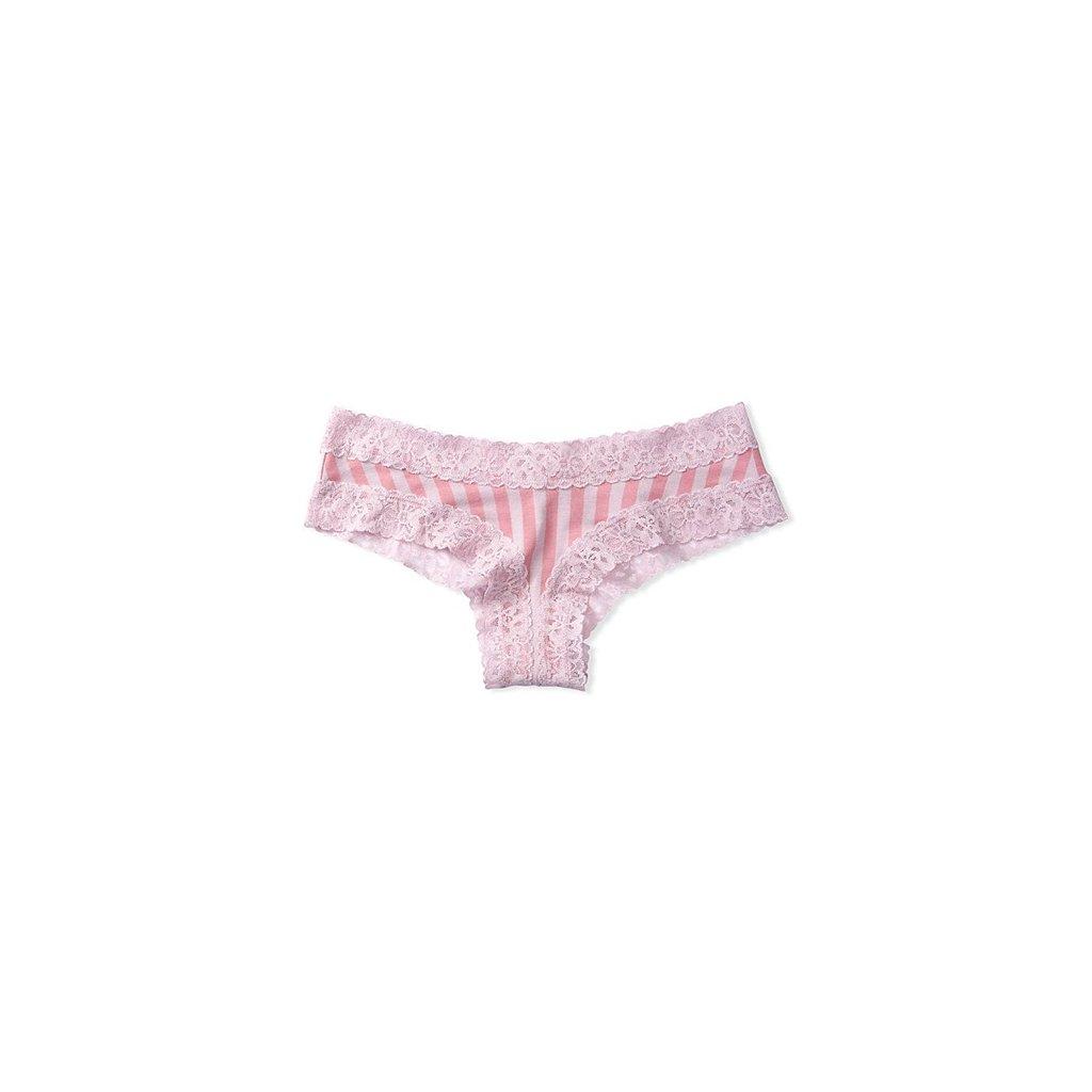 Victoria's Secret růžové proužkované brazilky s krajkovým lemem