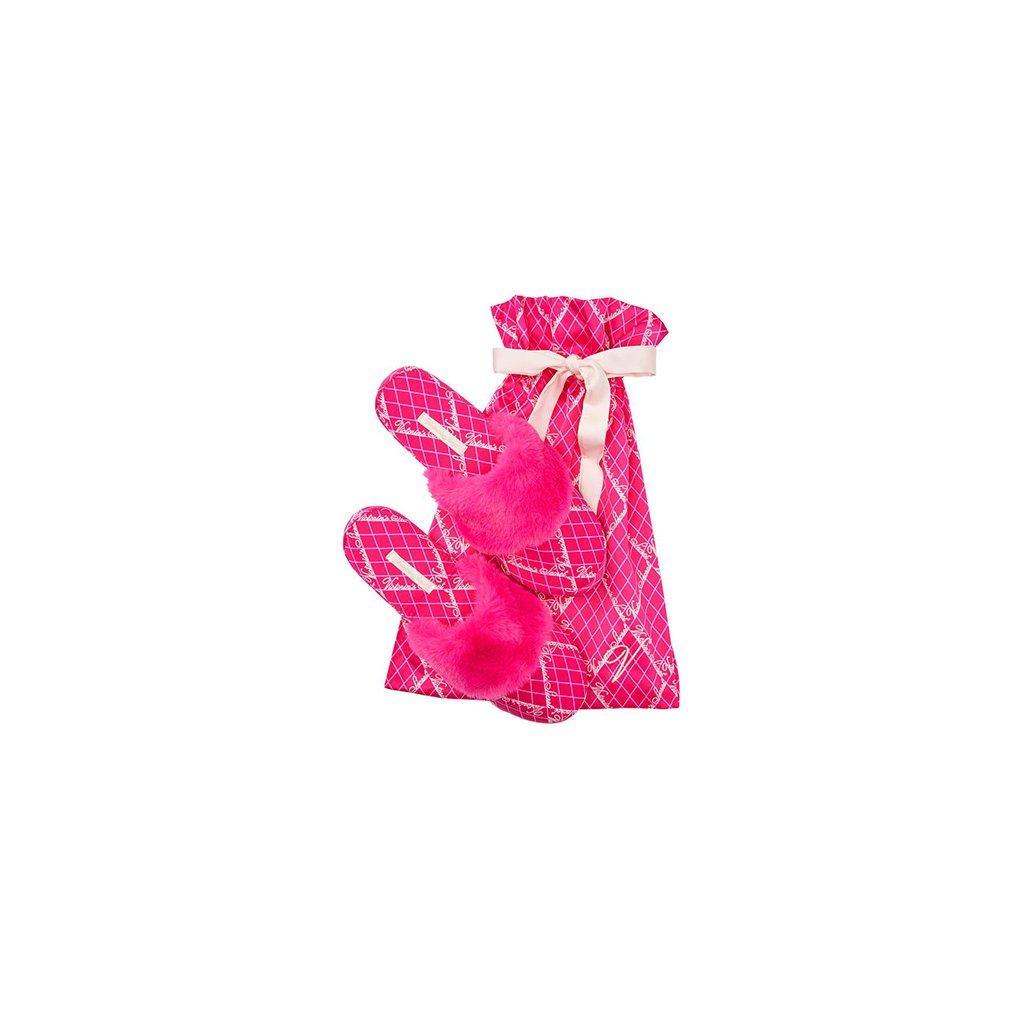 Victoria's Secret fuchsiové saténové dámské pantofle