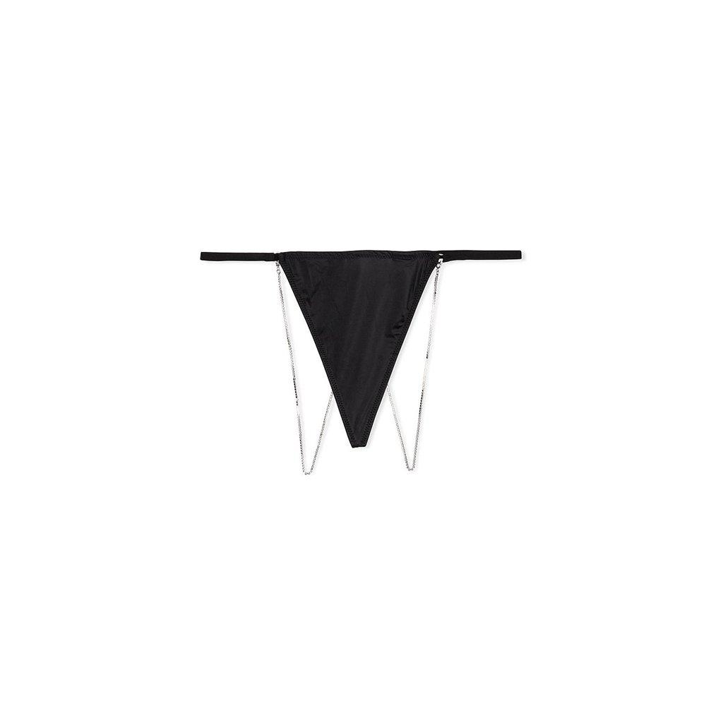 Victoria's Secret VERY SEXY černá tanga Micro & Crystal Chain V-string Panty