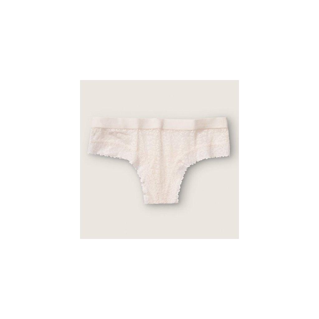 Victoria's Secret PINK bílé krajkové brazilské kalhotky Lace Cheekster
