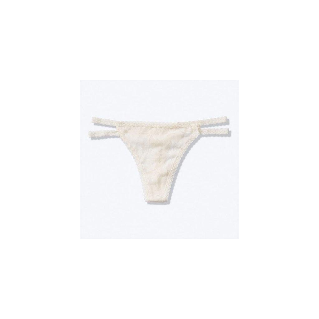 Victoria's Secret PINK bílá krajková tanga Lace Strappy Thong