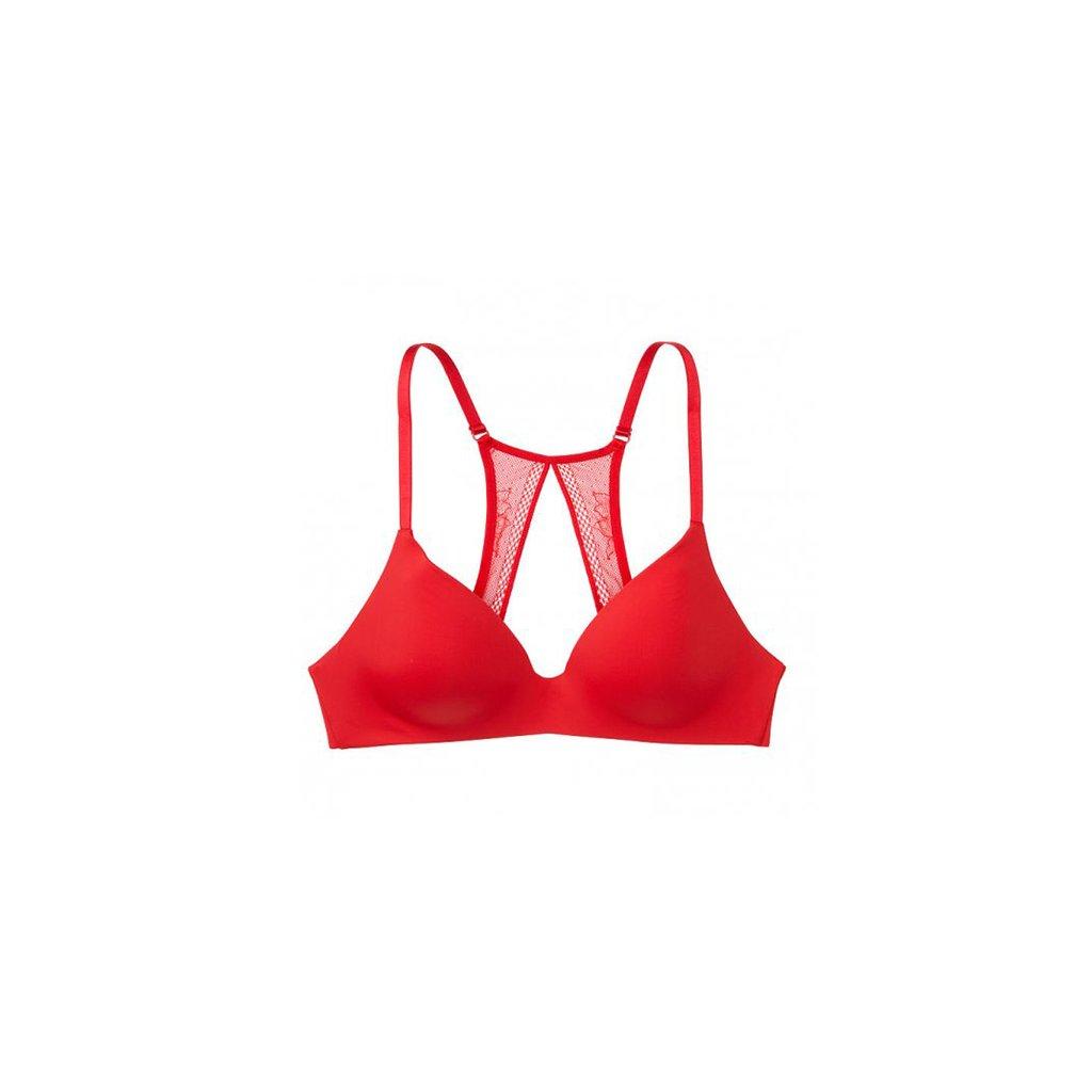 Victoria's Secret červená podprsenka bez kostic se sexy krajkou
