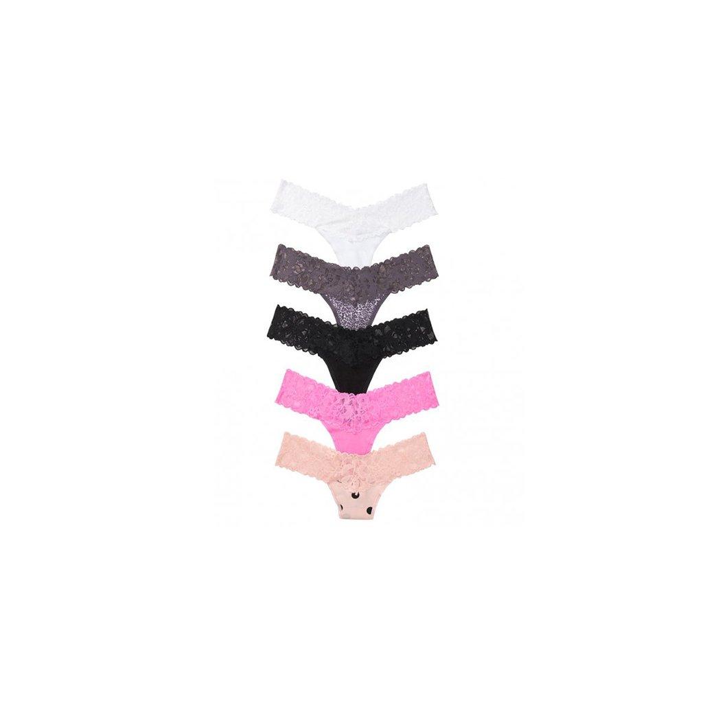 Victoria's Secret 5-pack Cotton Lace Waist Thong Panties