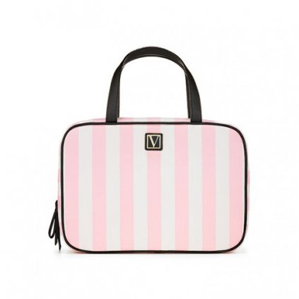 Victoria's Secret růžový kosmetický kufřík Signature Stripe Everything Travel Case