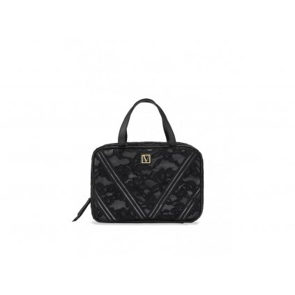 Victoria's Secret krajkový kosmetický kufřík Black Lily Lace Everything Travel Case