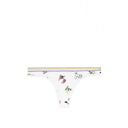 Victoria's Secret bílá tanga s potiskem