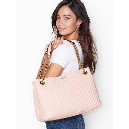 Victoria's Secret elegantní růžová taška přes rameno Pebbled V-Quilt ShoulderTote