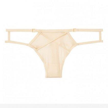 Victoria's Secret luxusní krémová tanga s popruhy