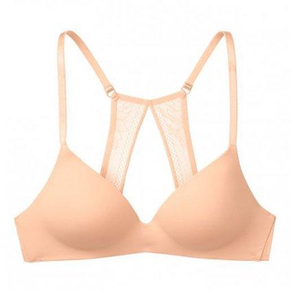 Victoria's Secret meruňková podprsenka bez kostic se sexy krajkou