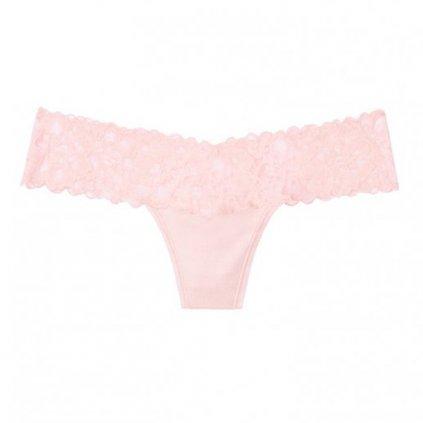 Victoria's Secret luxusní růžová krajková tanga