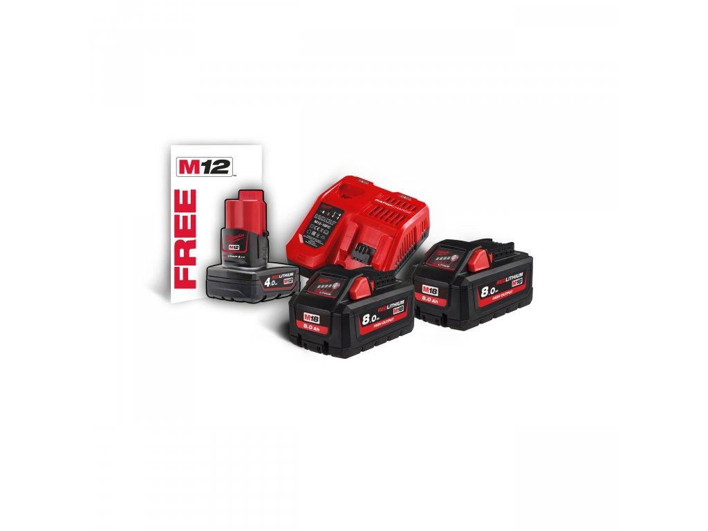 Milwaukee M18 HNRG-802, sada akumulátorů a nabíječky vysoký výkon