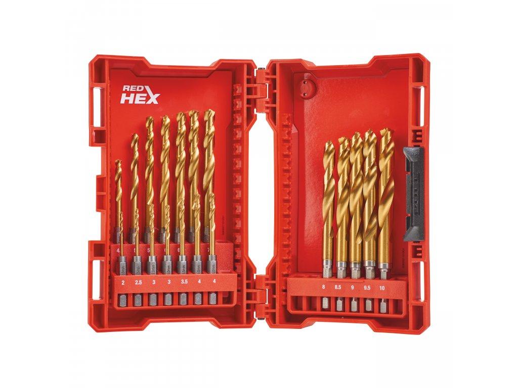 Sada Vrtáků do kovu RED HEX HSS-G 19ks