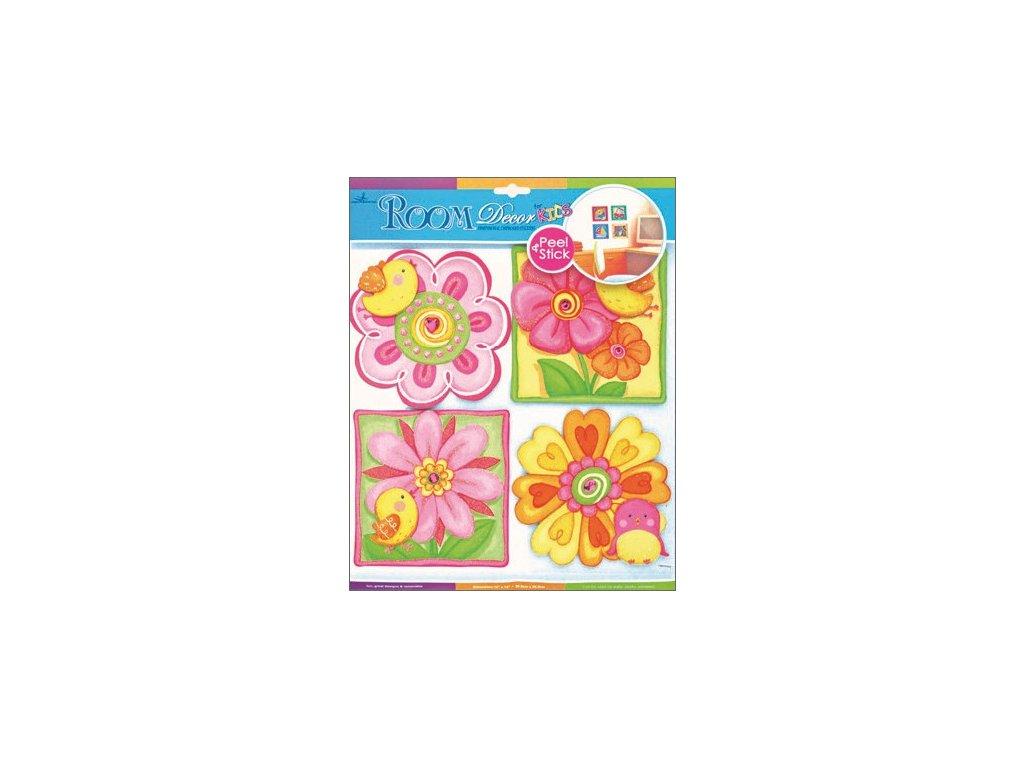 Samolepky na zeď květiny a ptáčci z tvrdého papíru 30,5x30,5 cm
