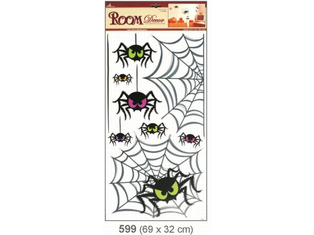 Pokojová dekorace pavouci 69x32cm Anděl
