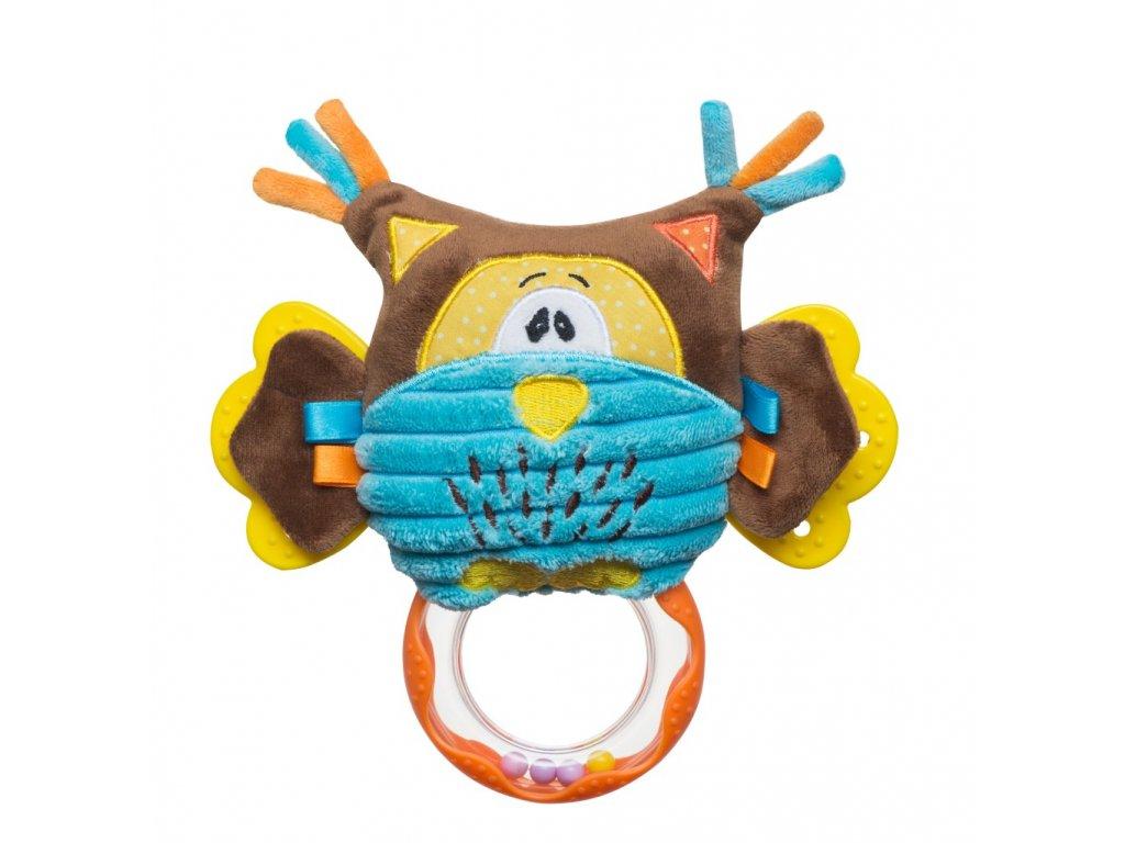 Plyšová hračka s chrastítkem sova babyono