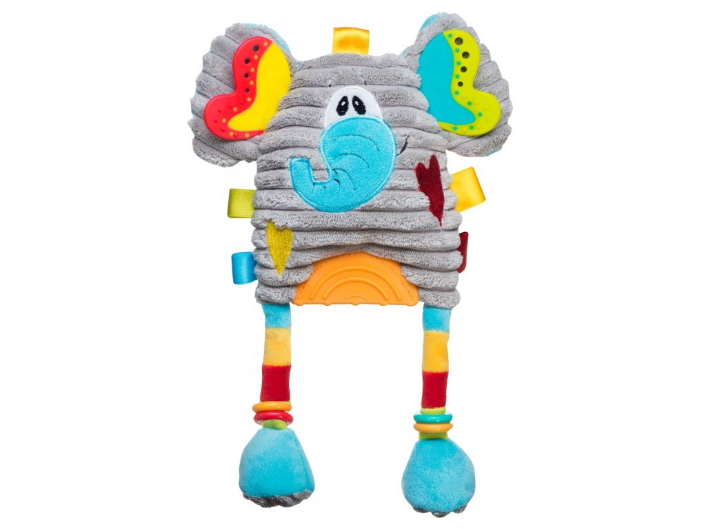 Plyšová hračka s chrastítkem slon babayono