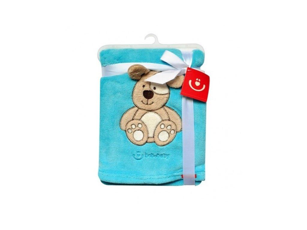 KCSN08_tyr.Dětská deka bobobaby s aplikací tyrkys