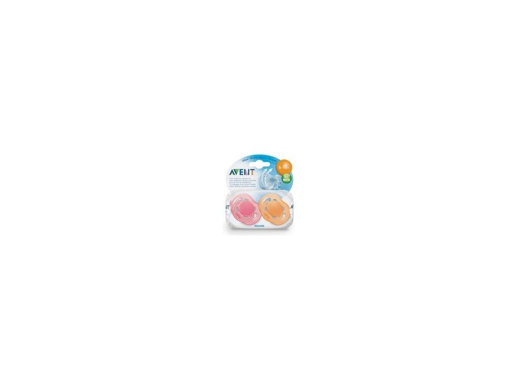 Šidítko sensitive 6-18m. bez BPA 2 ks - růžové+oranžové