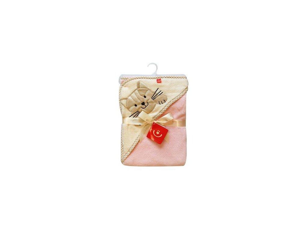 Dětská osuška s kapucí termofroté béžovo-růžová 76x80 cm Bobobaby
