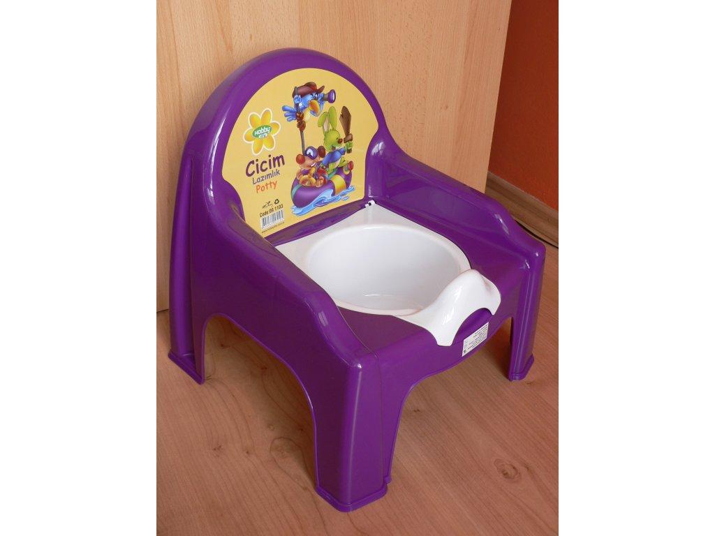 Nočník stolička s víkem Orion fialový
