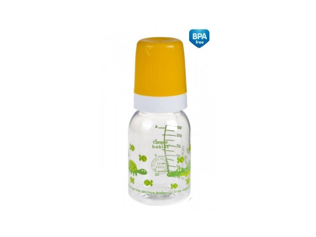 Canpol babies láhev s potiskem a úchyty 120 ml bez BPA žlutá