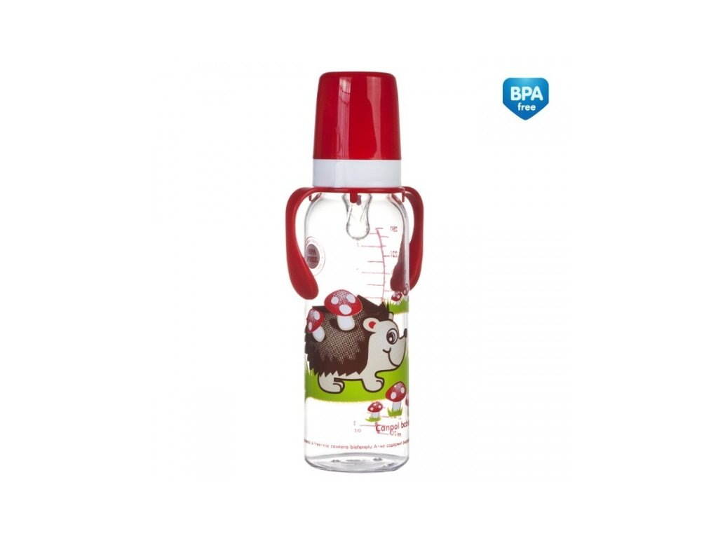 Canpol babies láhev s potiskem a úchyty 250 ml bez BPA červená