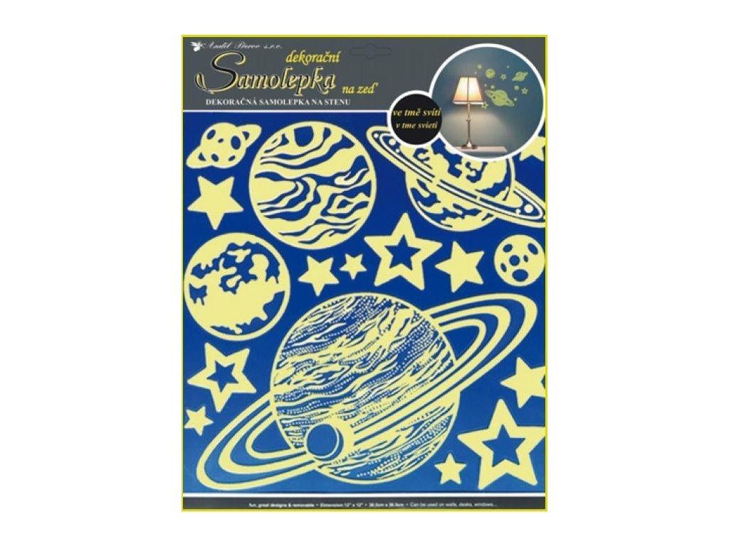 Svítící samolepka Planety 31x 29cm Anděl