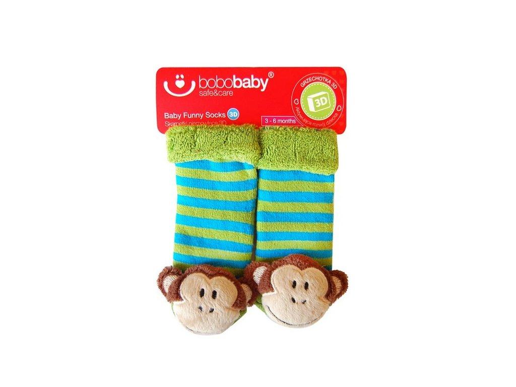 Kojenecké ponožky se zvířátkem a chrastítkem 3D Bobobaby 12-24 měsíců