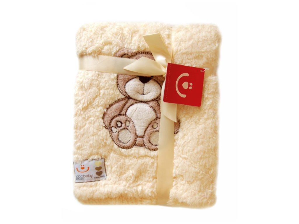 Dětská deka z mikrovlákna se zvířátkem béžový medvídek KCSN-02 76x102 cm Bobobaby