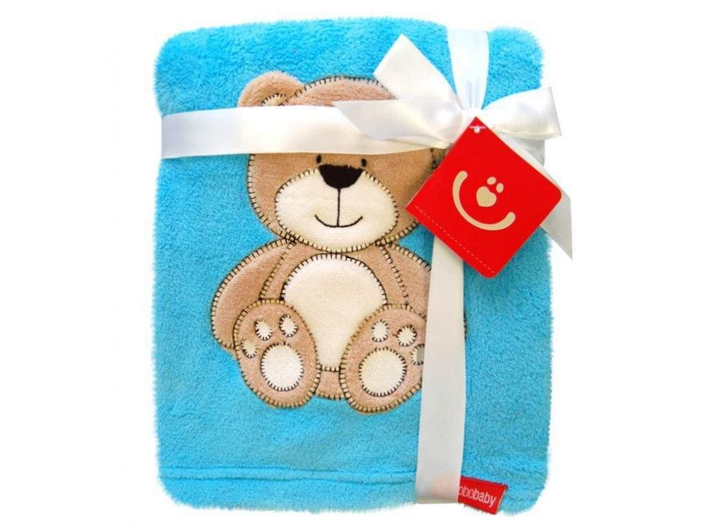 Dětská deka se zvířátkem 76x102 cm modrý medvídek Bobobaby