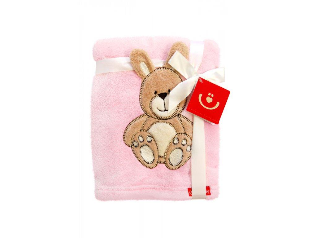 Dětská deka s 3D zvířátkem 76x102cm Bobobaby růžový zajíček